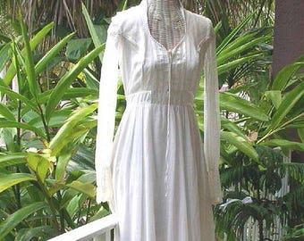 Vintage Gunne Sax Corset Dress Prairie Wedding Dress Hippie Folk Maxi Gown