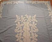 Vintage Madeira Linen Cutwork Floral Tablecloth Napkins Set