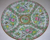 Antique Chinese Export Famille Rose Plate Birds Flowers Fruit