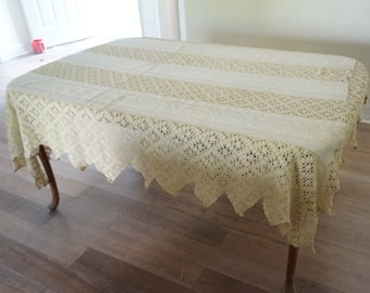 Antique Linen Matelasse Crochet Tablecloth Bedspread Coverlet Sawtooth Edge