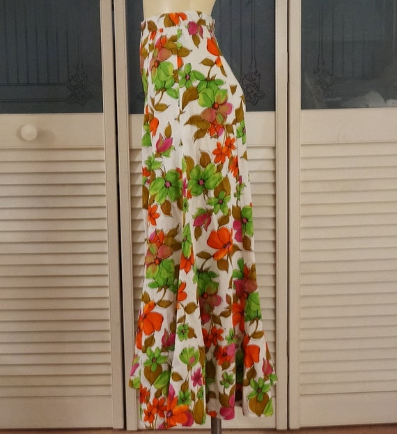 70s Hippie High Waist Flower Power Palazzo Pants - image 2