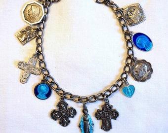 Vintage Sterling Catholic Religious Guilloche Enamel Medal Charm Bracelet