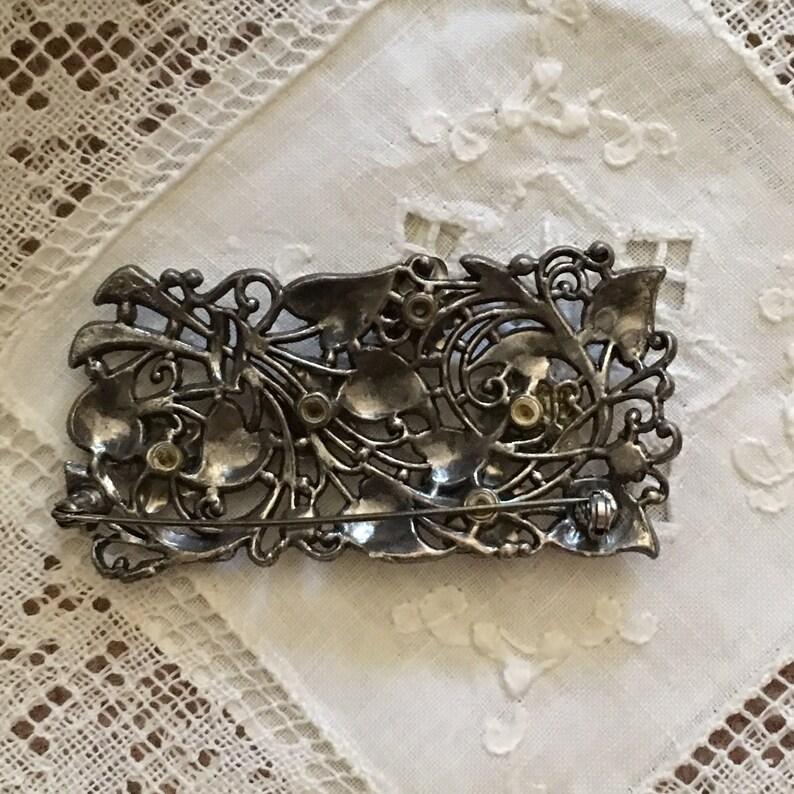 Vintage 40s Topaz Rhinestone 3D Flower Pin Brooch