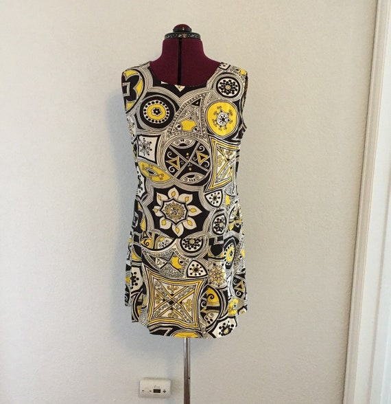 Vintage 60s Op ART GRAPHIC Culotte Shorts Dress Ro
