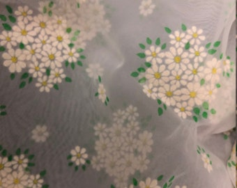 """Vintage 46"""" Flocked Dotted Swiss Floral Daisy Fabric Heirloom Sewing Chiffon 1yd"""