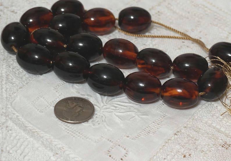 Vintage Dark Tortoise Bakelite MISKETA Prayer Beads Ottoman Rare 30s
