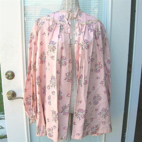 Vintage 40s Satin Taffeta Bed Jacket Floral Satin