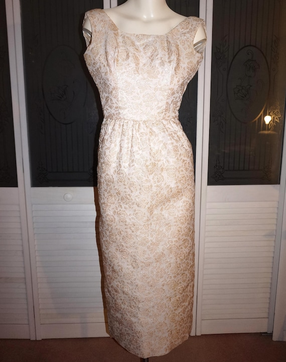 50s Gold Lame' Brocade Wiggle Dress Evening Gown X