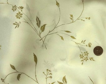 Elegant Vintage John Kaldor Gold Leaves on Cream Crepe Chiffon Bridal Fabric
