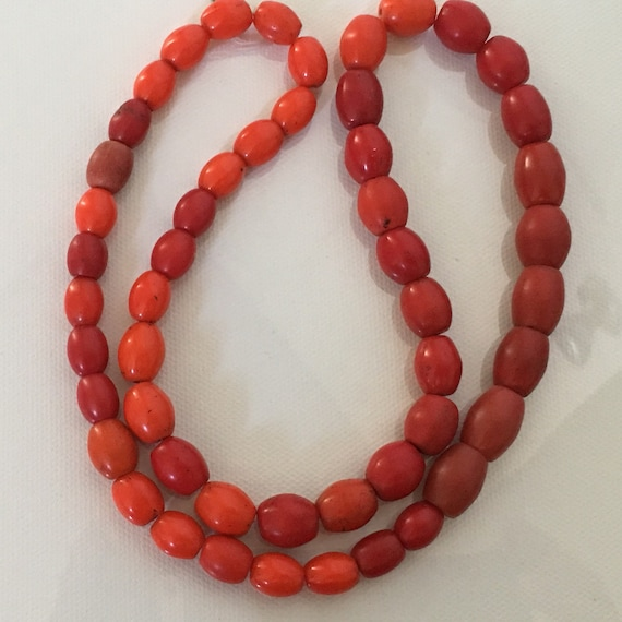 Native American Red Clay Glass Trade Bead Necklace Etsy