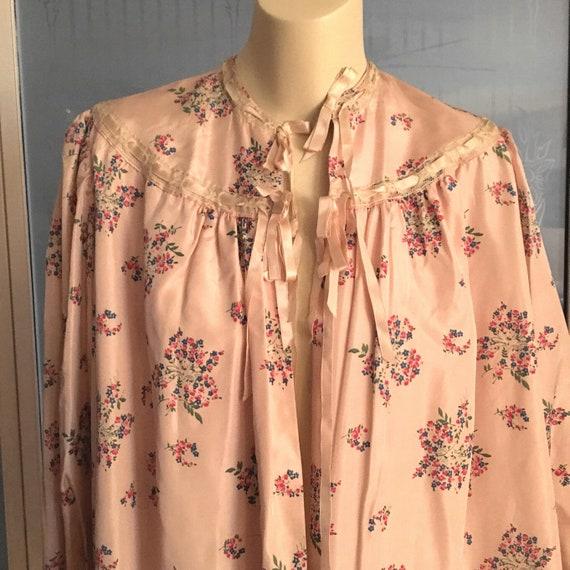 Vintage 40s Satin Taffeta Bed Jacket Floral Satin… - image 6