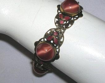 Vintage Czech Enamel Satin Art Glass Bead Bracelet Neiger Bros