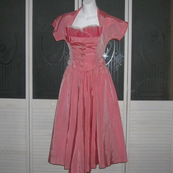 Vintage 40s Taffeta Tulle Full Sweep Halter Dress