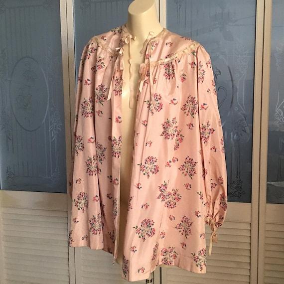 Vintage 40s Satin Taffeta Bed Jacket Floral Satin… - image 5