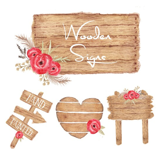 Watercolor Wooden Sign Clipart Wood Rustic