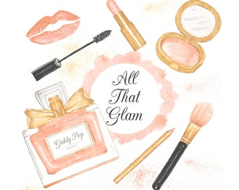 Watercolor Makeup clipart, cosmetic clipart, , Fashion clipart, pink, Handpainted, Perfume clipart