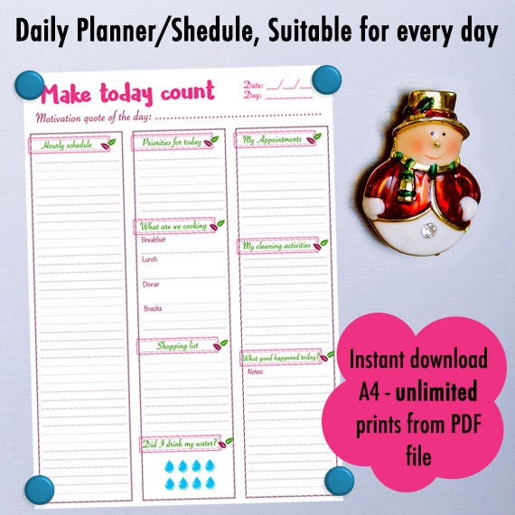 A4, Printable Open Day Planner, Pink, Simple, Cute, Daily Planner, Daily  Schedule, To Do List, Planner schedules, Chore  Instant download