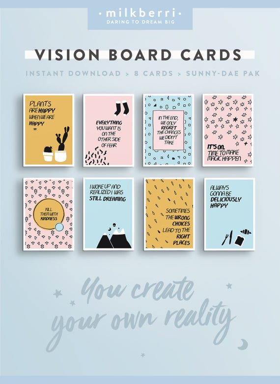 Quote Cards Unique Vision Board Quote Cards 48 Quote Print Vision Board Kit Etsy