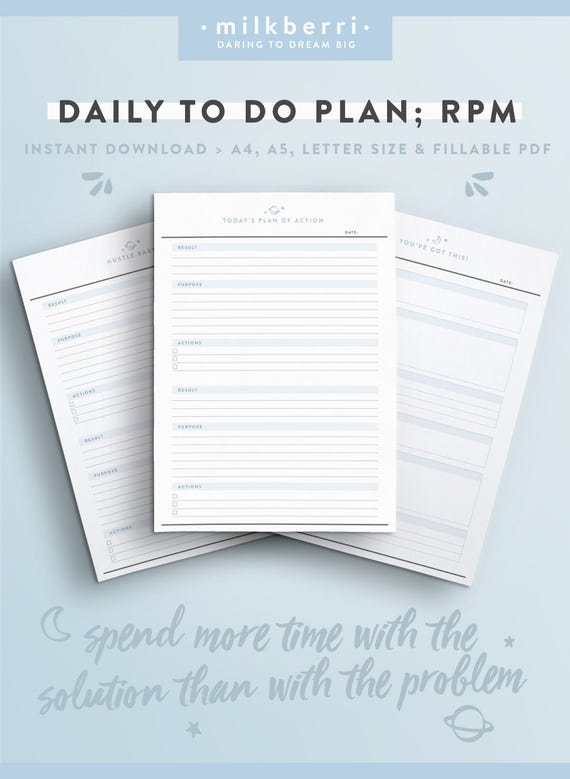 Daily Planner Sheet RPM. Results Purpose Action. Tony | Etsy