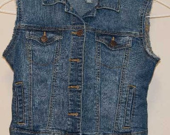 Girl's L (10-12) Denim Vest, Shabby Chic Style