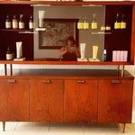 Mid Century Modern Floating Walnut Wood Credenza Cabinet Vintage circa 1950's Much Storage Highly Stylized and Stunning!