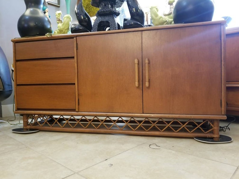 Mid Century Modern Credenza Buffet Room Divider Bamboo image 0