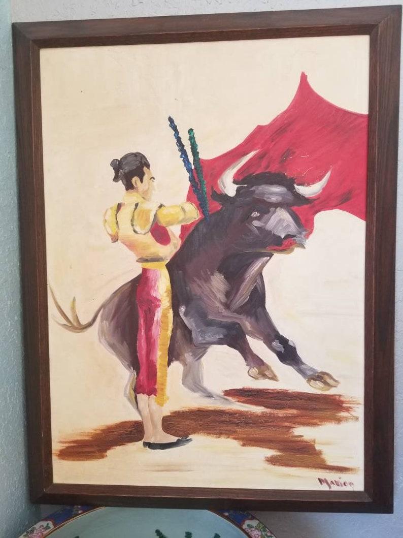 Vintage Impressionist Painting of Matador Bullfighter Signed image 0