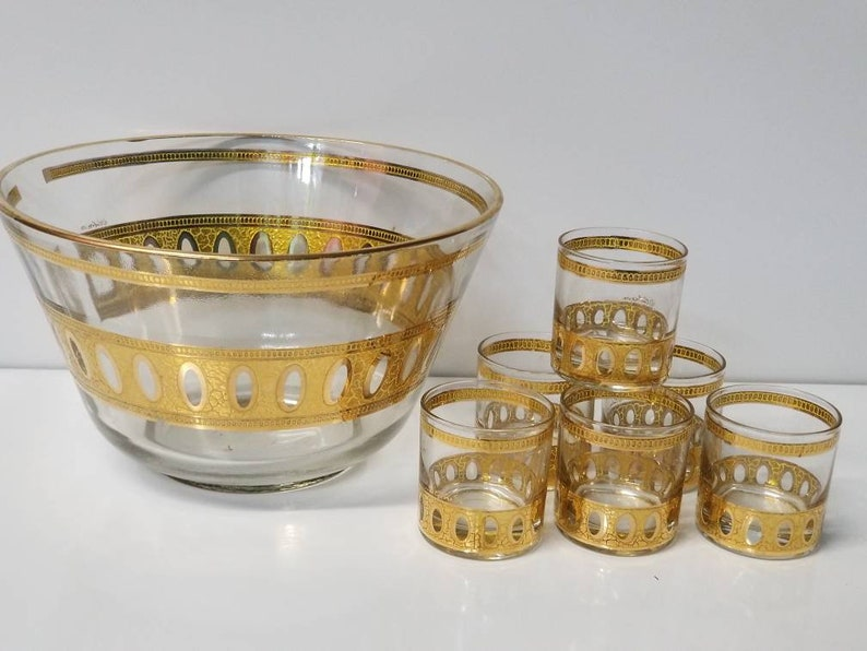 Mid Century Modern Punch Bowl by Culver Set Vintage 1960's image 0