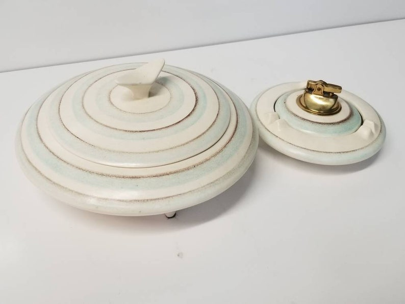 Mid Century Modern Cigarette Box  Ashtray and Lighter Pottery image 0