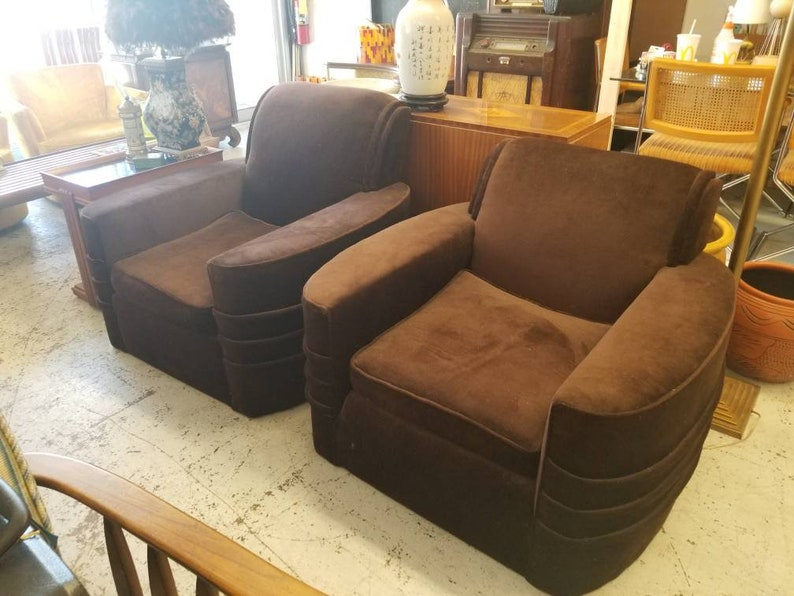 Art Deco Chairs Pair Chocolate Brown Mohair Upholstery All image 0