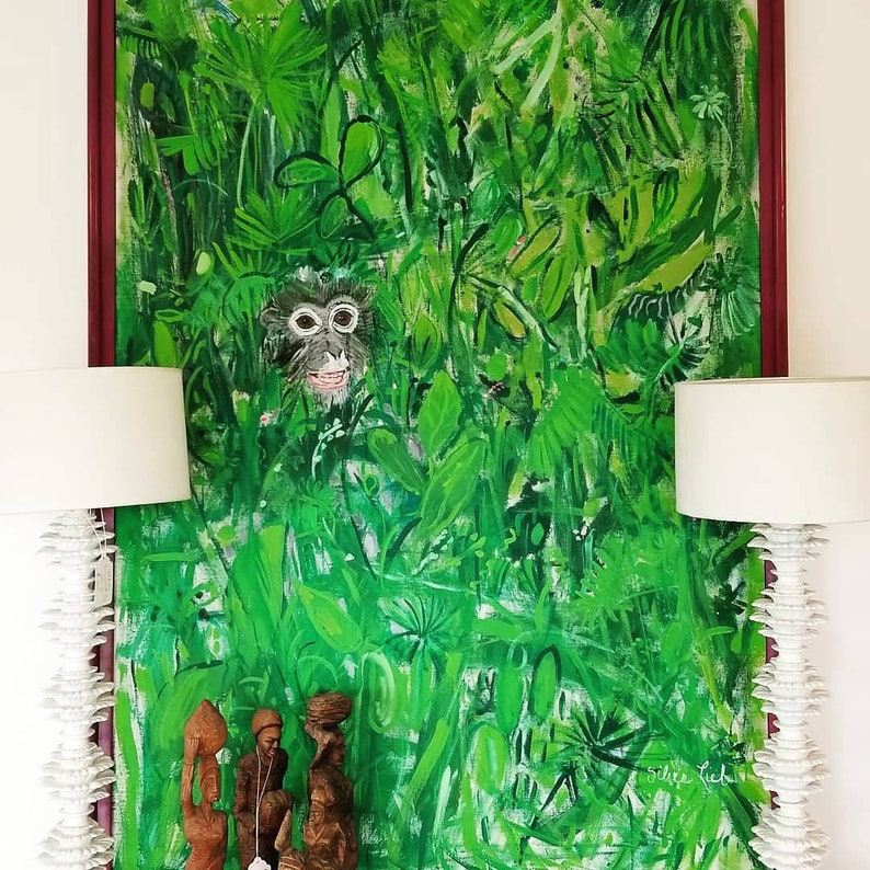 Mid Century Modern Large Monkey Painting by Recognized Artist image 0