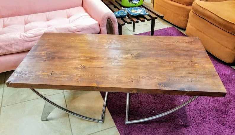 Mid Century Modern Coffee Table with Clean Lines A Chrome Half image 0