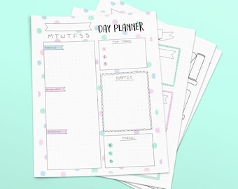 Printable Bullet Journal Pages - Cute Pastel Doodle Style - Day Planner, Book Shelf Log and List A5 - Journal Template Download