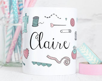 Personalised Sewing Mug - Those who Sew Collection - Sewing Gift