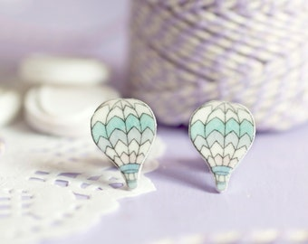 Hot Air Balloon Earrings - Every Cloud Collection - Cute Pastel Studs