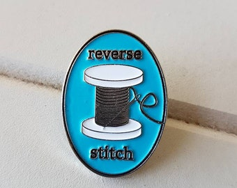 Reverse Stitch Enamel Pin in TEAL