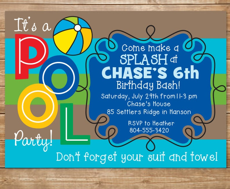 Pool Birthday Party Invitation Boys Swimming Party Water | Etsy