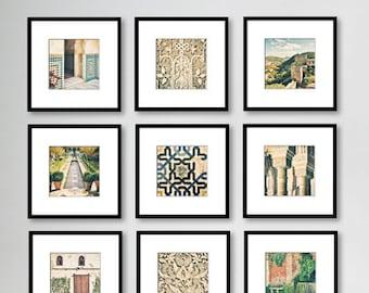 SALE, Alhambra Spain Prints, Gallery Wall Print Set, Travel Photography, Fine Art Print, Home Decor, Set of 9 prints, 5x5, 8x8, Square print