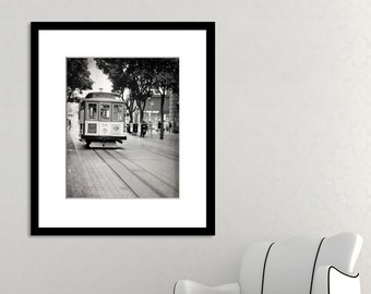 San Francisco Photography, Black and White, Cable Car Print, California Photo, Fine Art Print, Vertical Print, Wall Art, Home Decor