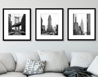 New York Print Set Black And White Photography Of 3 Prints City NYC Wall Art Home Decor Manhattan Urban Gift