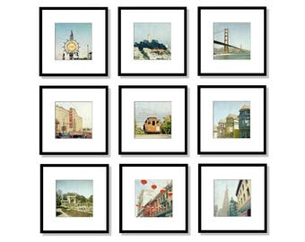 San Francisco Art, Print Set, Golden Gate Bridge, Cable Car, California,  Gallery Wall, Set Of 9, Square Prints, 5x5, 8x8, 12x12, SALE