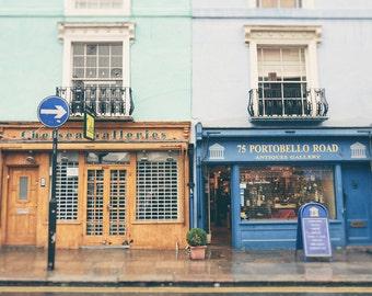 London Print, Notting Hill, Portobello Road, Colorful Street, Shops, London Decor, London Photography, pastel, London Wall Art