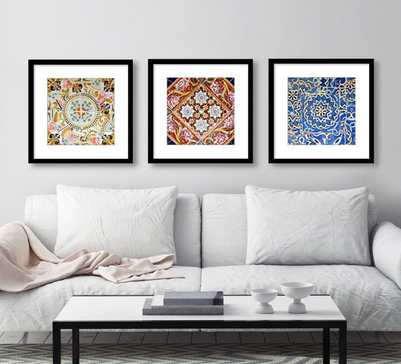 Spanish Tile Wall Art Kitchen Decor Set Of 3 Prints Bathroom Decor Square Prints Colorful Patterns Barcelona Spain Photography Print