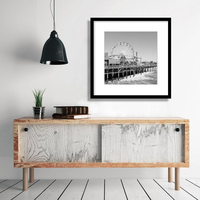 Santa Monica Pier, Black and White Photography, LA Beach, Ferris Wheel, Los  Angeles Wall Art, Fine Art Print, California