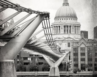 London Photography, St. Paul's, Cathedral Dome, Millennium Bridge, Black and White Prints, London Decor, Fine Art Print, Wall Art