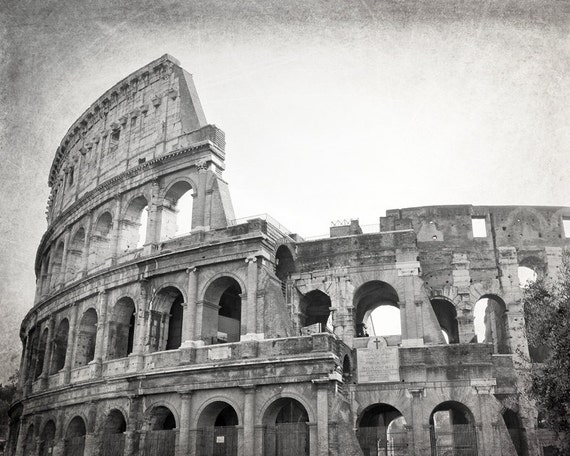 Colosseum Rome Photography Black and White Print Rome Wall | Etsy