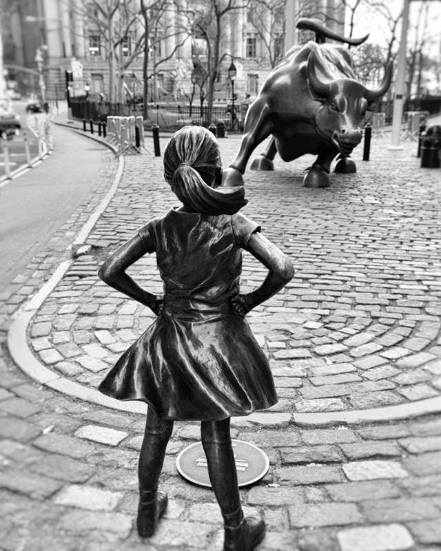 Fearless Girl Statue New York Photography Charging Bull