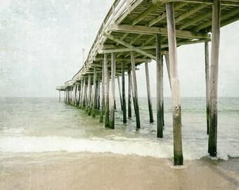 Beach Photography Print, Fishing Pier, Outer Banks, Coastal Decor, Ocean Art, Landscape Photo, Beach Decor, Wall Art, sea green, teal, sand
