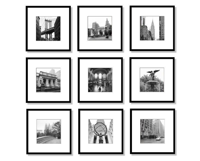 New York gallery wall decor set of 14 black and white and color prints Brooklyn Bridge NYC large wall art