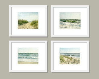 SALE, Beach Decor Prints, Beach Wall Art Set, Ocean Prints, Gallery Wall, Set of 4 Prints, Ocean Art, sand dunes, waves, cream, sea green